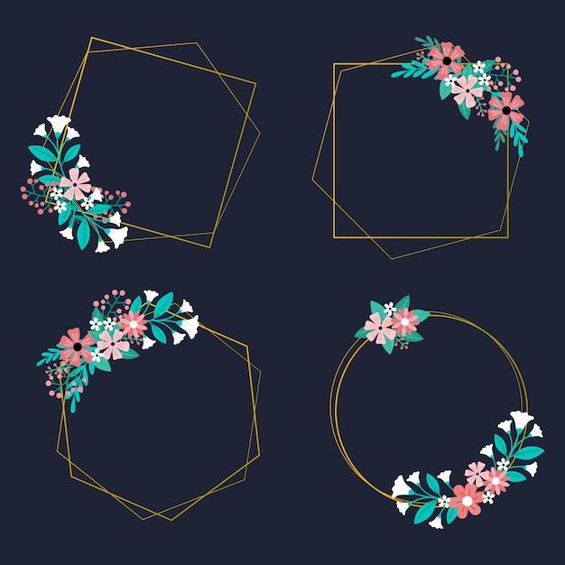 Moldura de casamento com arranjo de flores Vetor grátis
