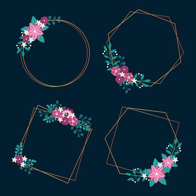 Moldura de casamento com flores da primavera e folhas Vetor grátis