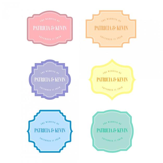 Moldura de casamento em cor pastel Vetor Premium