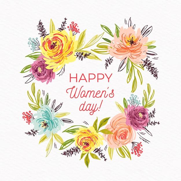 Moldura de dia das mulheres floral Vetor grátis