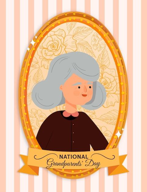 Moldura de dia dos avós nacionais de mão desenhada com a avó Vetor grátis