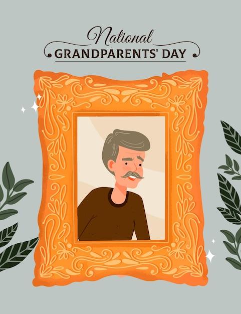 Moldura de dia dos avós nacionais de mão desenhada com o avô Vetor grátis