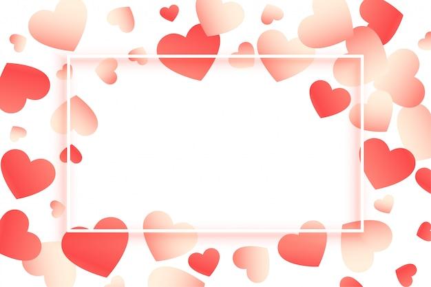 Moldura de dia dos namorados linda corações com espaço de texto Vetor grátis