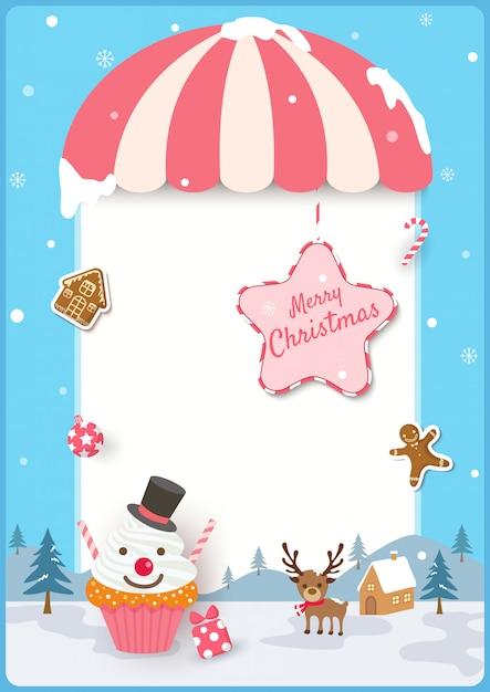 Moldura de feliz natal com cupcake e biscoitos para ornamentos em fundo azul. Vetor Premium