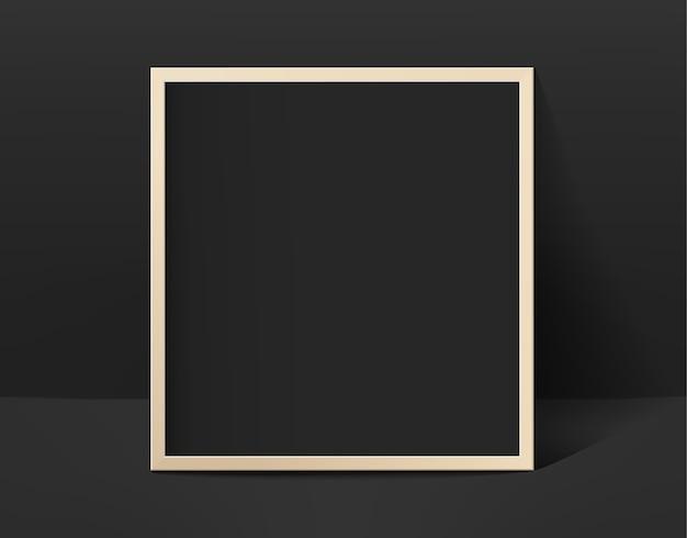 Moldura de foto preta em interior preto Vetor Premium