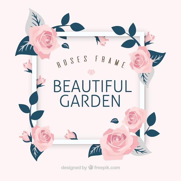 Moldura de fundo com belas rosas decorativas Vetor grátis