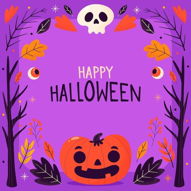 Moldura de halloween com abóbora e caveira desenhada à mão Vetor grátis