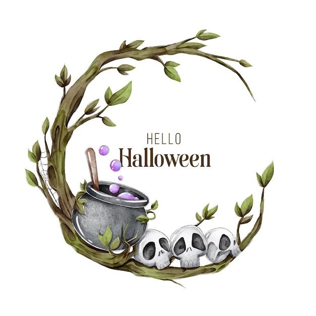 Moldura de halloween em aquarela Vetor grátis