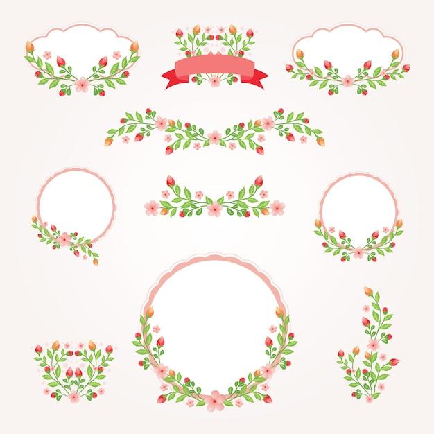 Moldura de logotipo para casamento design floral vintage Vetor Premium