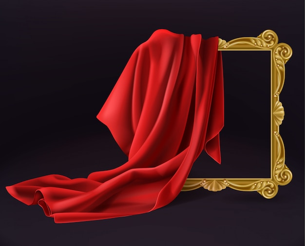 Moldura de madeira de capa de pano de seda vermelha isolada Vetor grátis