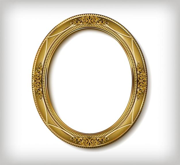 Moldura de madeira oval de moldura dourada com linha de canto floral para foto Vetor Premium