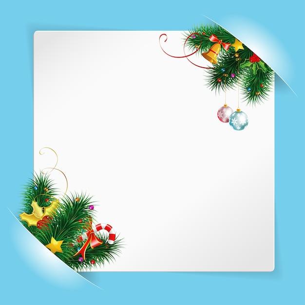 Moldura de natal com folha de papel branco, montada nos bolsos Vetor Premium
