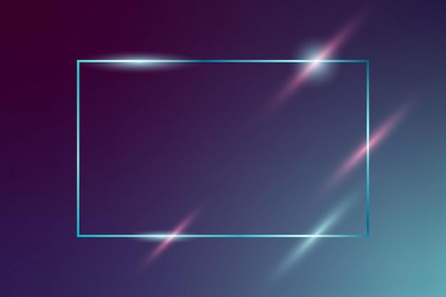 Moldura de néon brilhante vetor sobre fundo azul escuro Vetor Premium