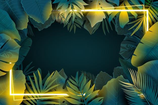 Moldura de néon realista com folhas Vetor grátis