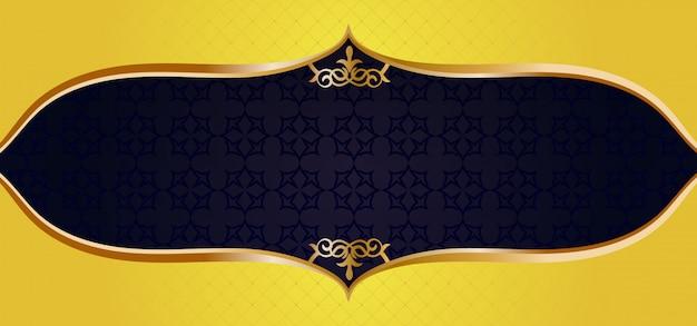 Moldura de ornamento de ouro em um banner preto padrão Vetor Premium