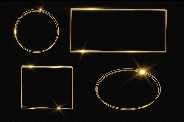 Moldura de ouro com efeitos de luz. banner de retângulo brilhante. isolado em fundo preto transparente. Vetor Premium