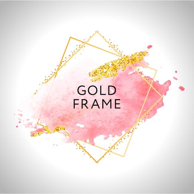 Moldura de ouro mão pintada pincelada. Vetor Premium