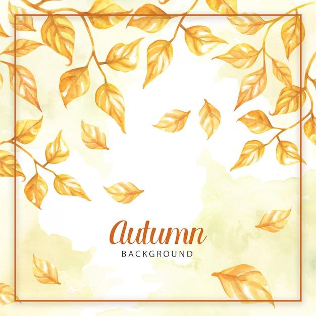 Moldura de outono com folhas de fundo Vetor Premium