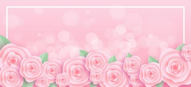 Moldura de rosas em estilo de corte de papel Vetor Premium