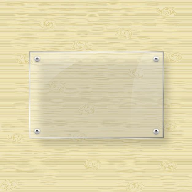 Moldura de vidro em branco sobre fundo de textura de madeira Vetor Premium