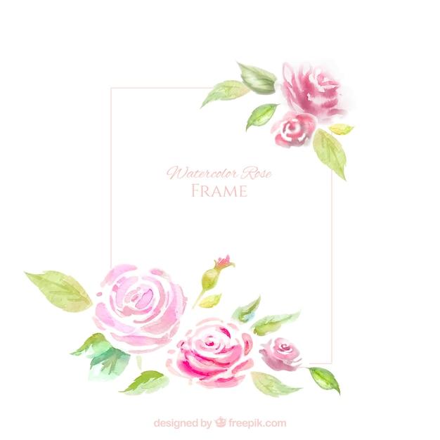 Moldura decorativa com rosas aquarela Vetor grátis