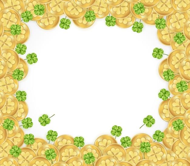 Moldura do dia de são patrício com decorações de moedas de ouro brilhantes e trevo no fundo branco Vetor grátis