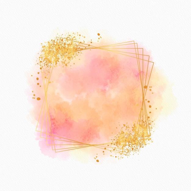 Moldura dourada brilhante em aquarela Vetor grátis