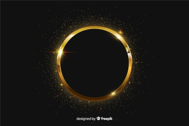 Moldura dourada cintilante em fundo preto Vetor grátis