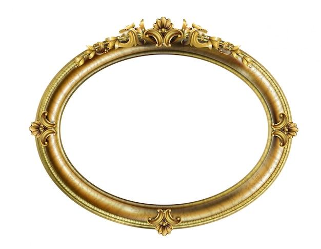 Moldura dourada clássica oval Vetor Premium