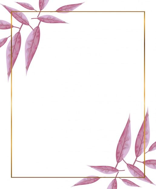 Moldura dourada com decoração de galhos Vetor Premium