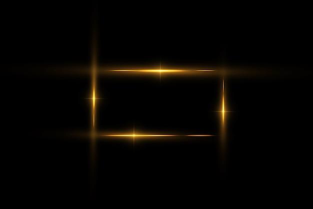 Moldura dourada com efeitos de luz, moldura de luxo brilhante Vetor Premium