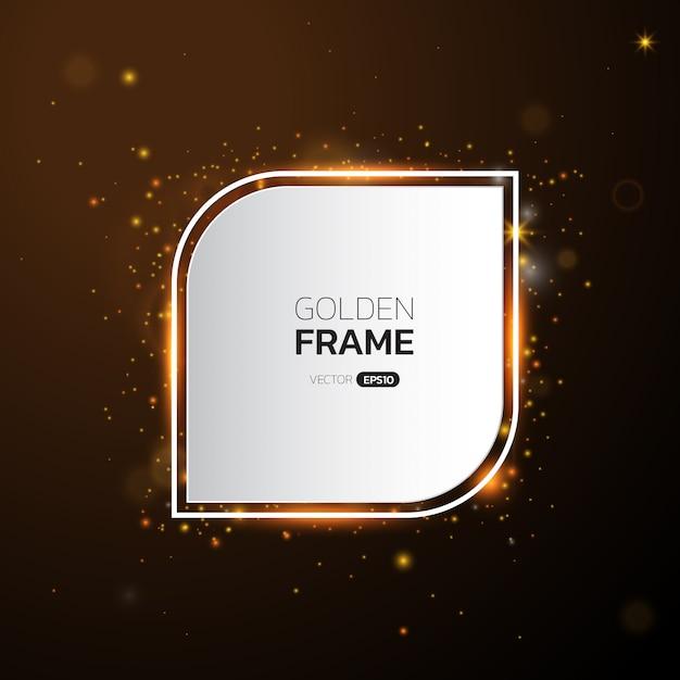 Moldura dourada com efeitos de luzes, brilhando bandeira de luxo. Vetor Premium