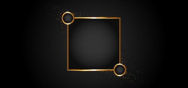 Moldura dourada com efeitos de luzes Vetor Premium