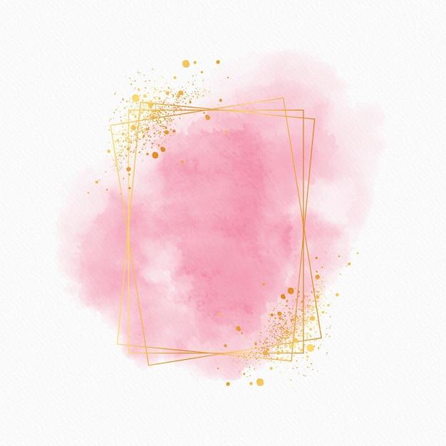 Moldura dourada em aquarela luxuosa Vetor grátis