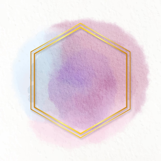 Moldura dourada em aquarela pastel Vetor grátis