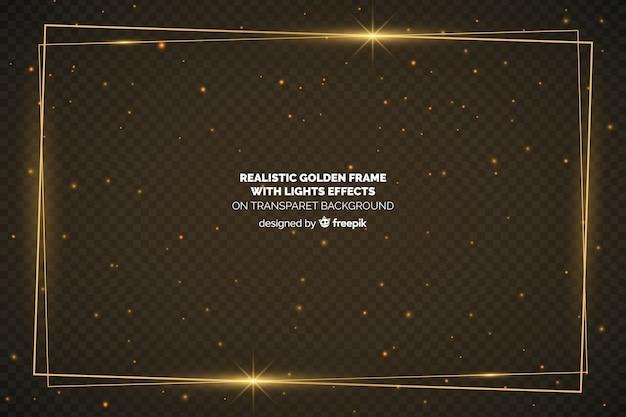 Moldura dourada realista em fundo transparente Vetor grátis