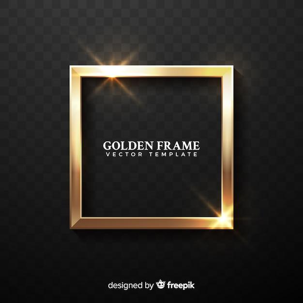 Moldura dourada realista Vetor grátis
