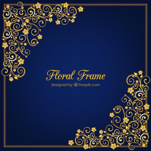 Moldura dourada vector floral Vetor Premium