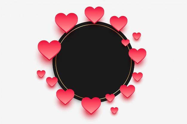 Moldura elegante corações com espaço de texto Vetor grátis