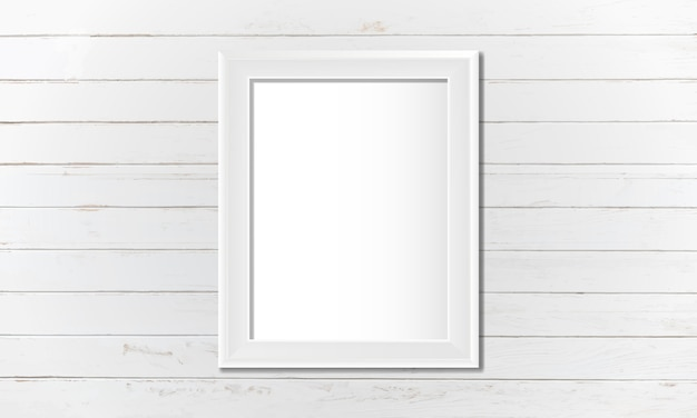 Moldura em branco branco na parede Vetor grátis