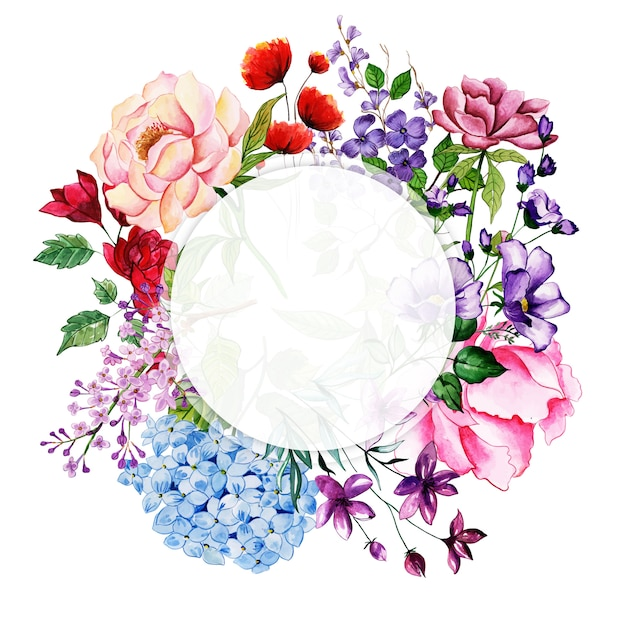 Moldura floral aquarela Vetor Premium