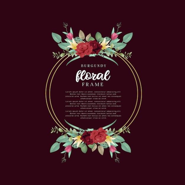 Moldura floral borgonha Vetor Premium