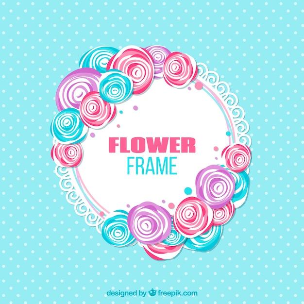 Moldura Floral Com Flores Rosa E Azul Baixar Vetores Gratis