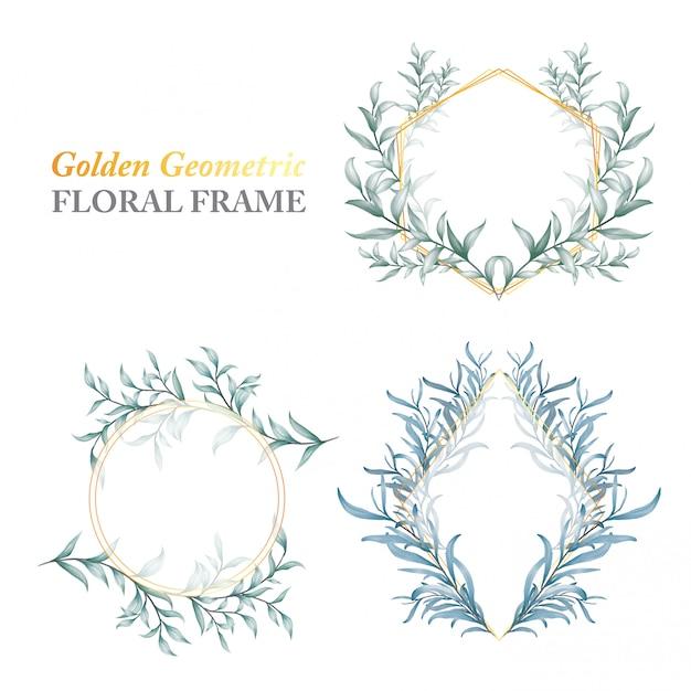 Moldura floral geométrica dourada de folhas selvagens Vetor Premium