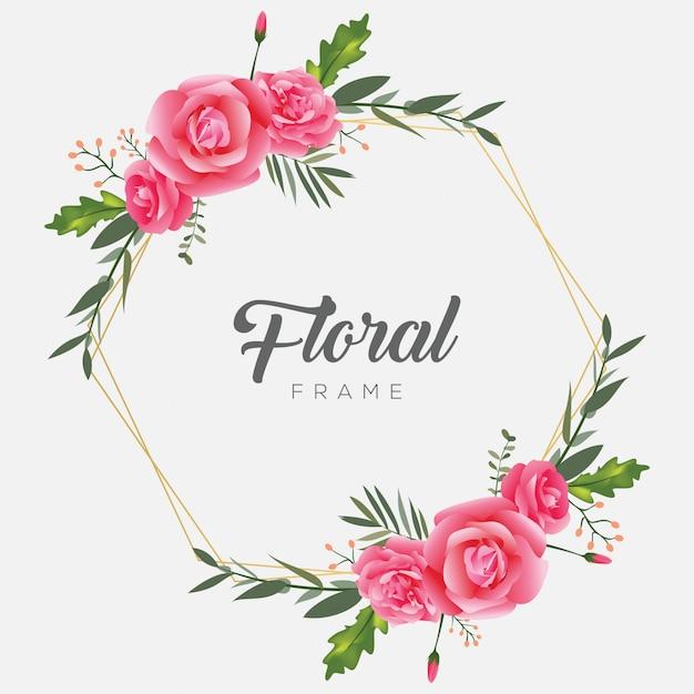 Moldura floral moldura flor vintage Vetor Premium