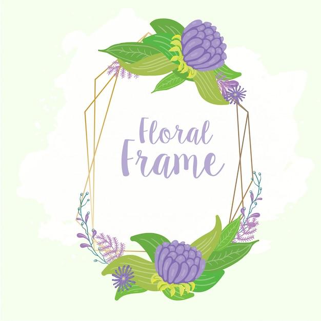 Moldura floral para cartão de casamento Vetor Premium