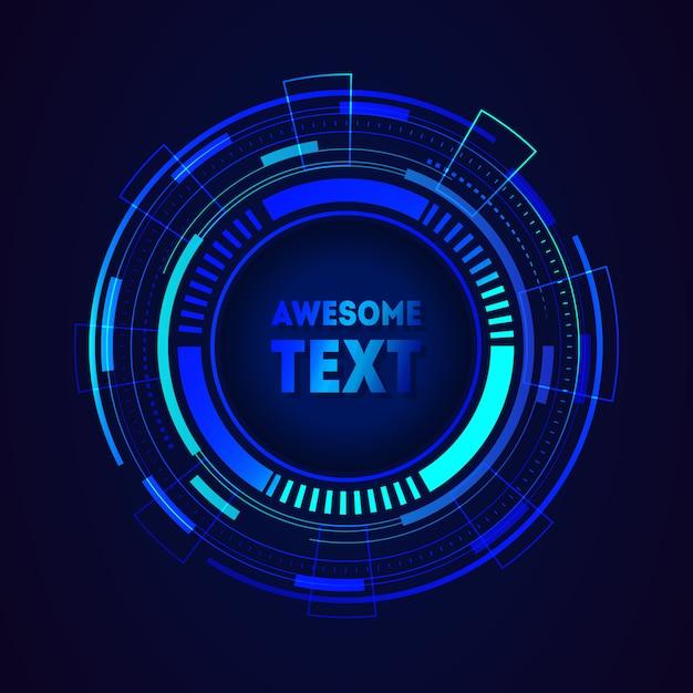 Moldura futurista redonda com lugar para texto Vetor Premium
