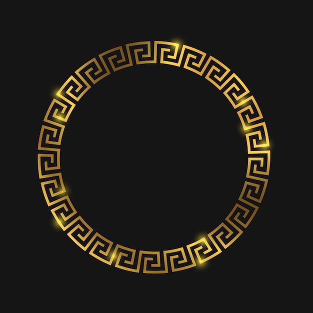 Moldura grega redonda dourada para design Vetor Premium