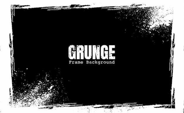 Moldura grunge preto e branco Vetor Premium