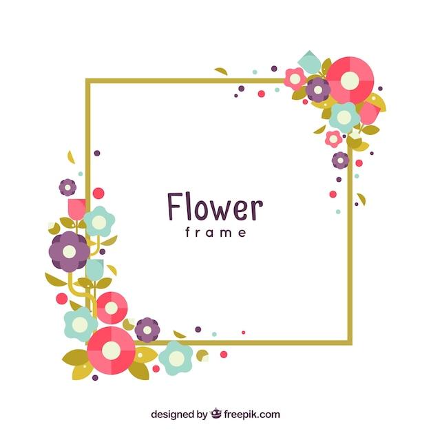 Moldura moderna com flores lisas coloridas baixar - Molduras modernas ...